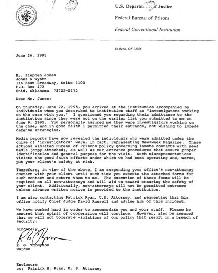 El Reno Letter