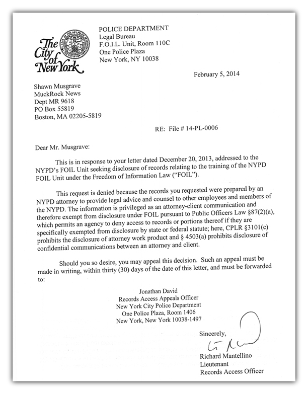 NYPD FOIL guide rejection letter