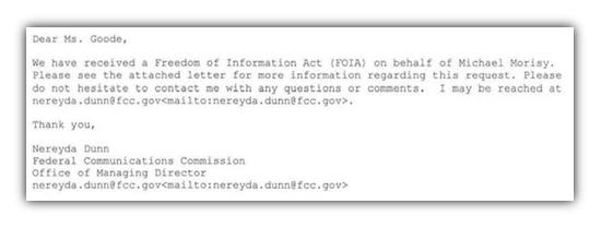 Initial FCC BAH email