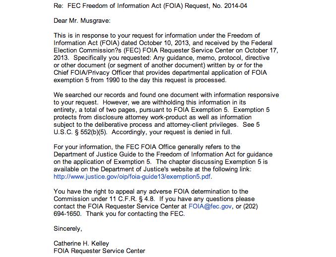 FEC exemption 5 rejection