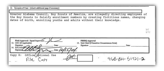 Birmingham FBI case synopsis