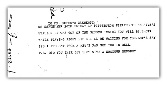Clemente death threat