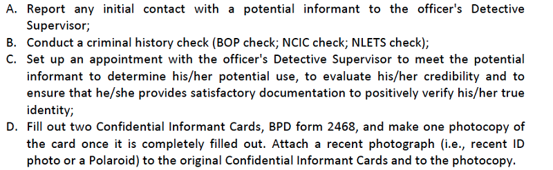 Boston police release rules and procedures regarding confidential