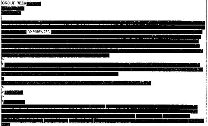"A FOIA response from Amtrak where everything is redacted except the words ""no Snack car."""