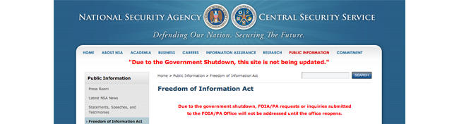 NSA website FOIA freeze