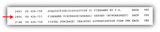 NYPD weapons discharge report